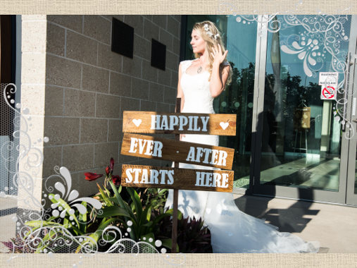 bride and wedding signage at entrance to north shore community centre