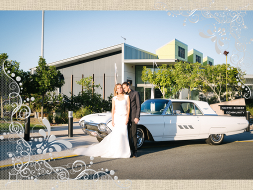 wedding couple and wedding car
